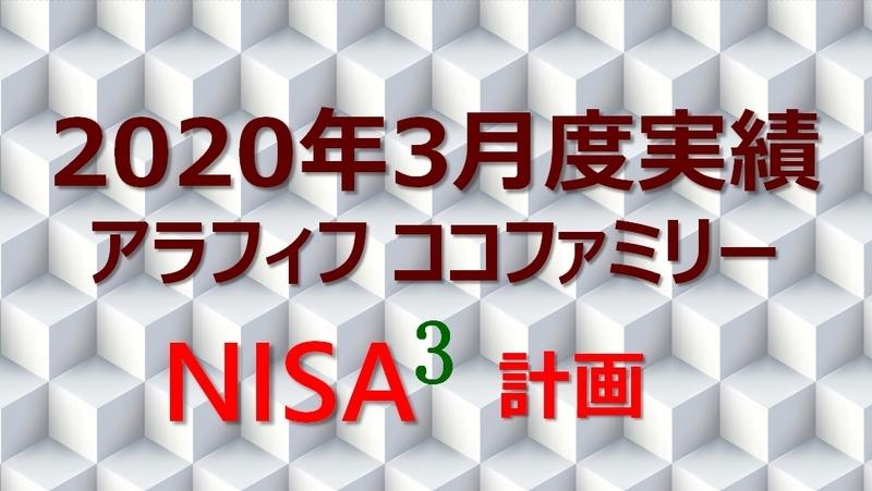 アラフィフ主婦ココファミリーの楽天証券のNISA口座2020年3月度実績