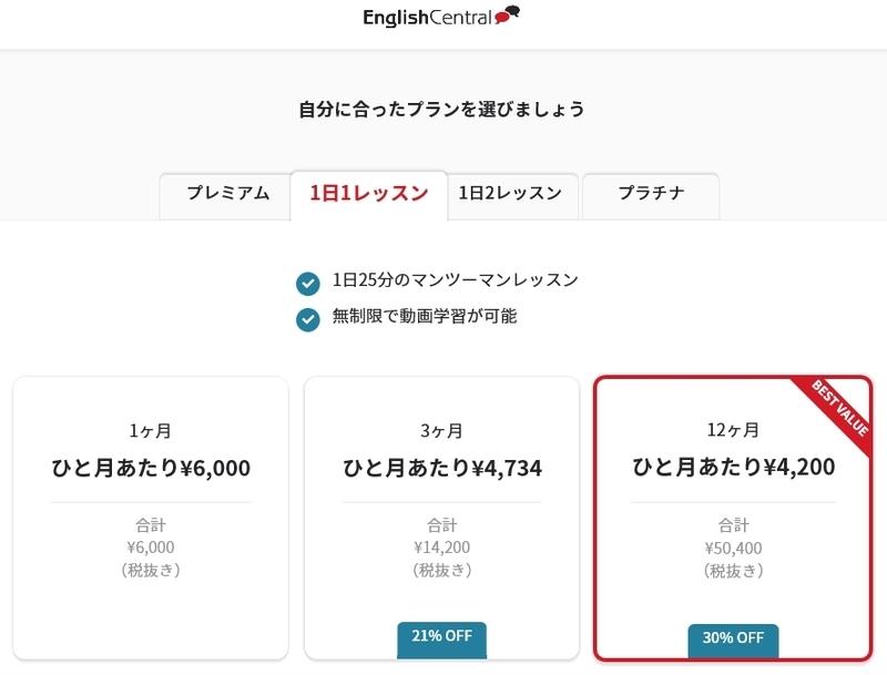 EnglishCentral1日1レッスン料金
