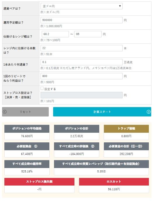 ココのトラリピAUD/JPYの買いトラリピの設定