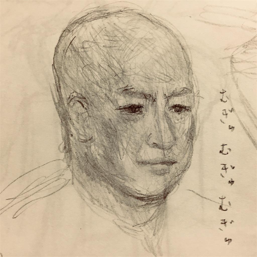 スキンヘッドの頭の素描