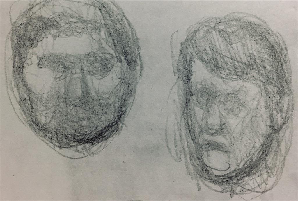 丸い頭と細い頭の素描