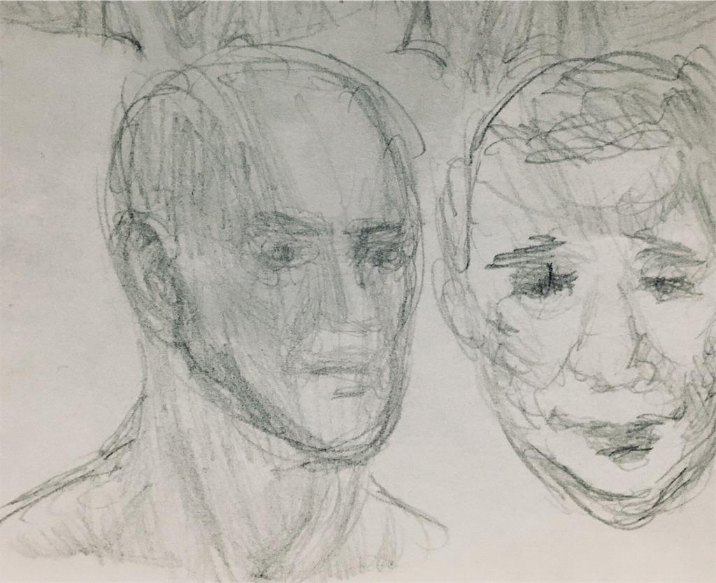 2つの頭部の素描