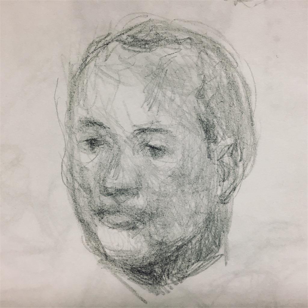 おじさん頭部の素描