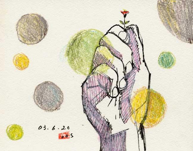 花を持つ手の素描