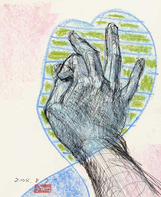 人差し指と親指で輪をつくる手の素描