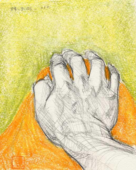 膝に置く手の素描