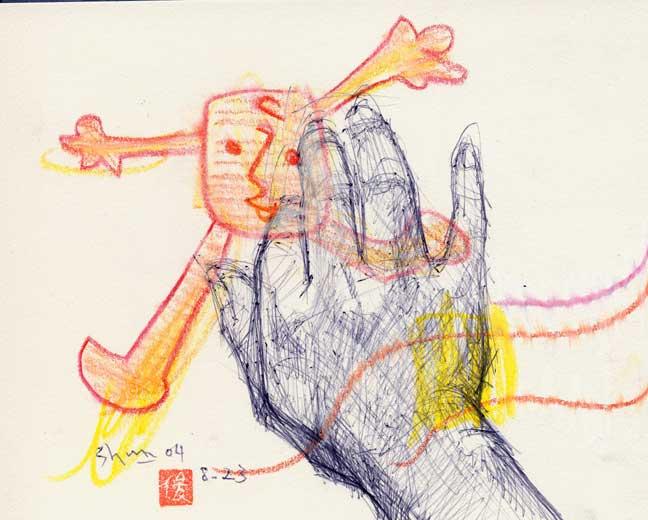 指先を曲げる手の素描