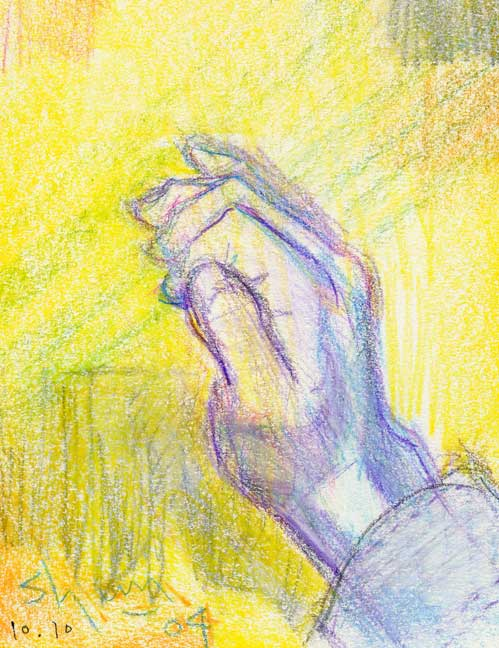 青い手の絵
