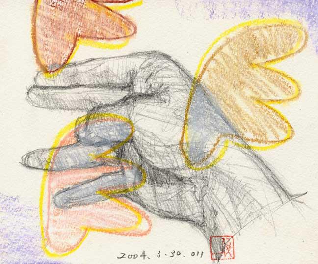 薬指に親指を置く手の素描