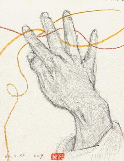 指先を開く手の素描