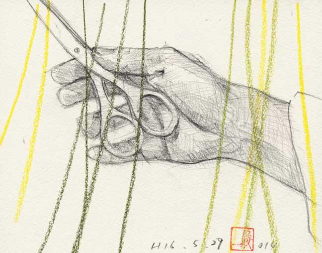 ハサミを持つ手の素描