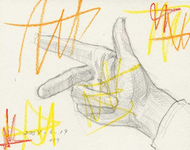 三方向を指す手の素描