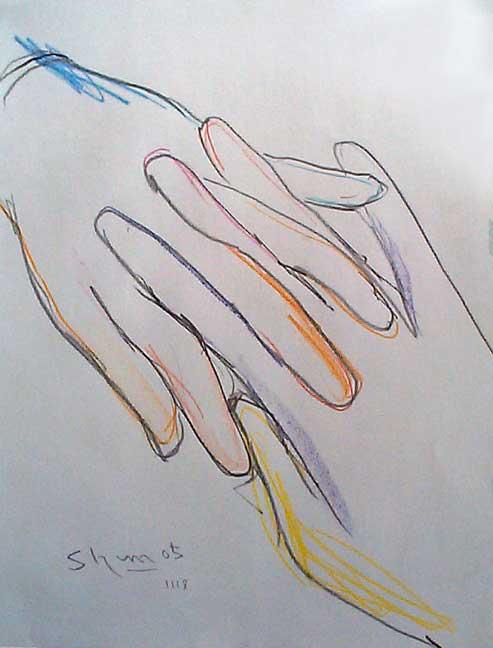 指を絡ませる手の素描