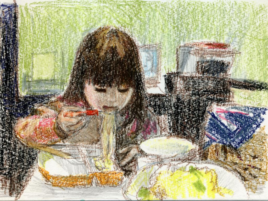 食事する娘の絵