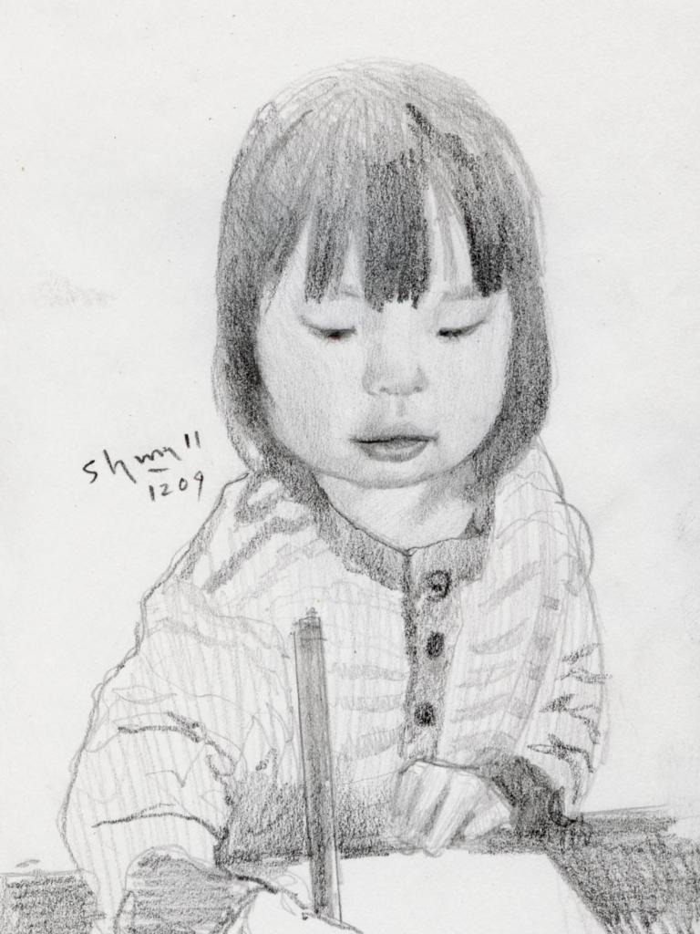 字を書く子どもの鉛筆画