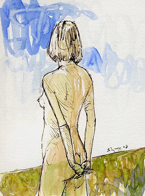 青空に女の後ろ姿の絵