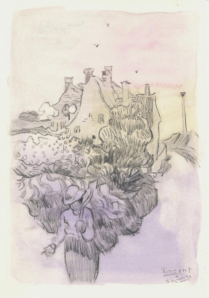 ゴッホの風景模写