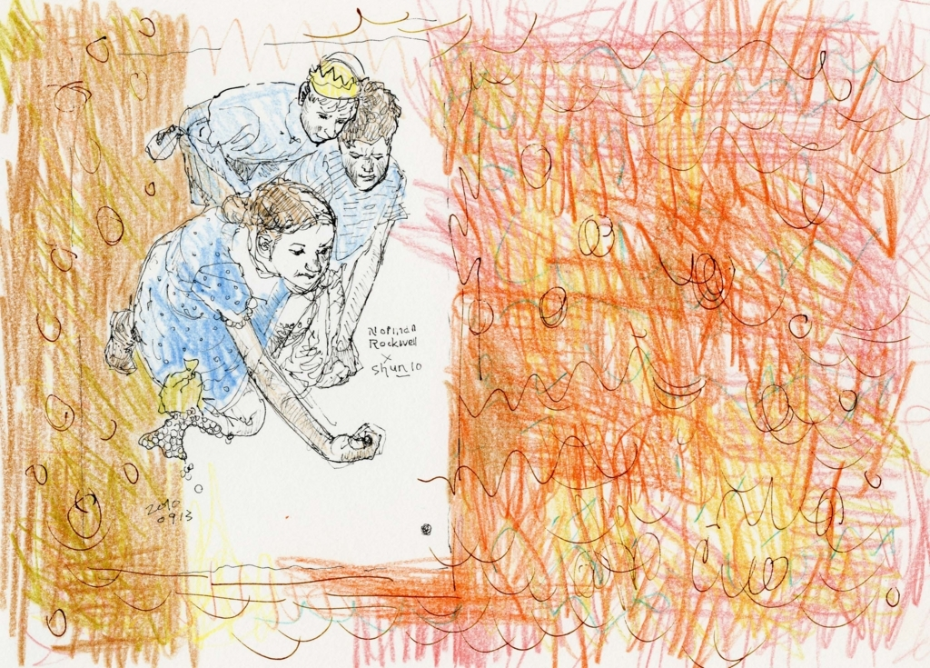 ノーマン・ロックウェルの絵の模写の絵