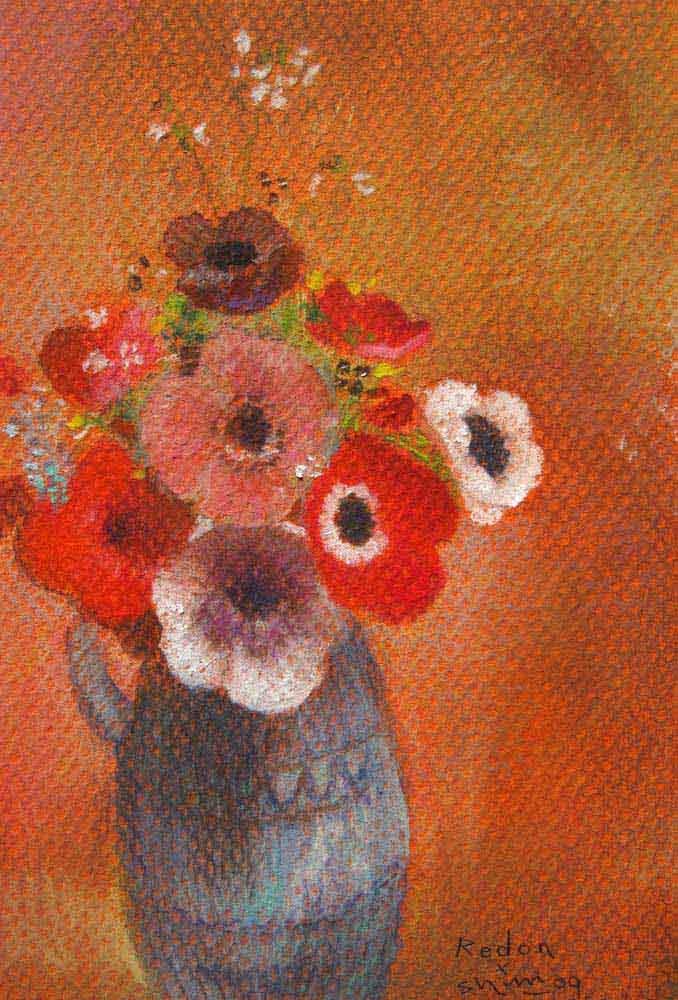ルドンの青い花瓶の花の絵の模写の絵