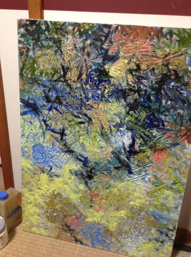 青い傷の油彩画