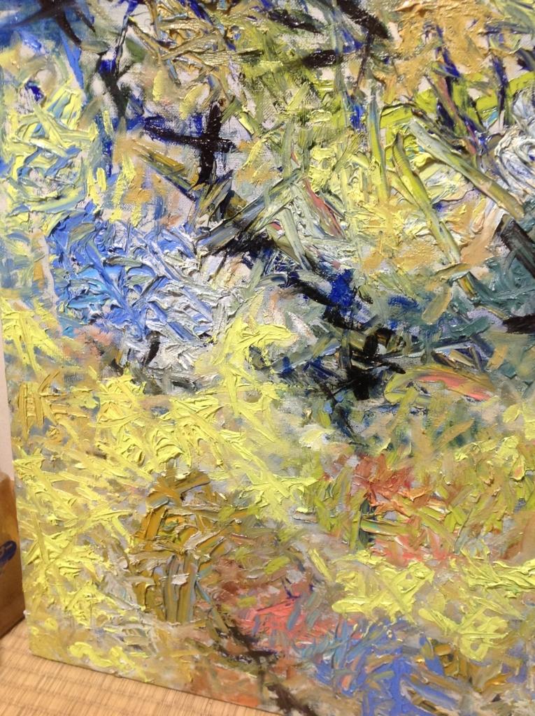 青い傷(部分)の油彩画