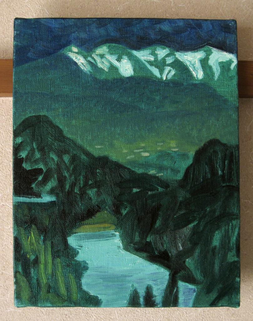 山と湖の絵