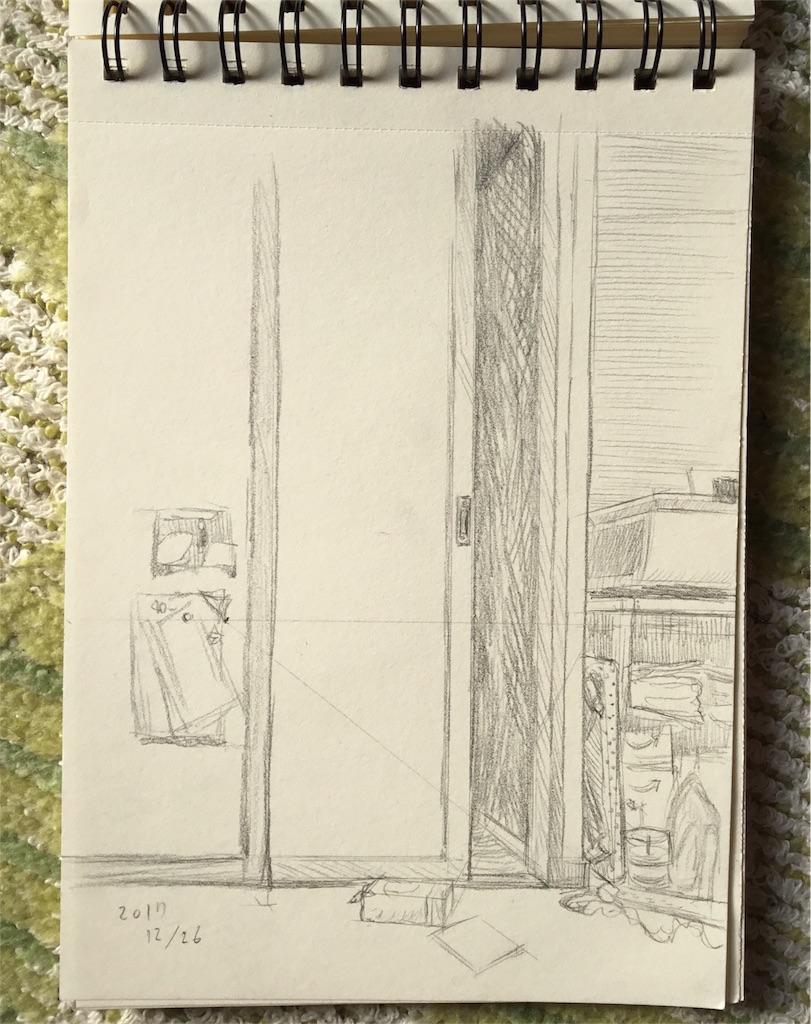 ふすまのある風景の鉛筆画