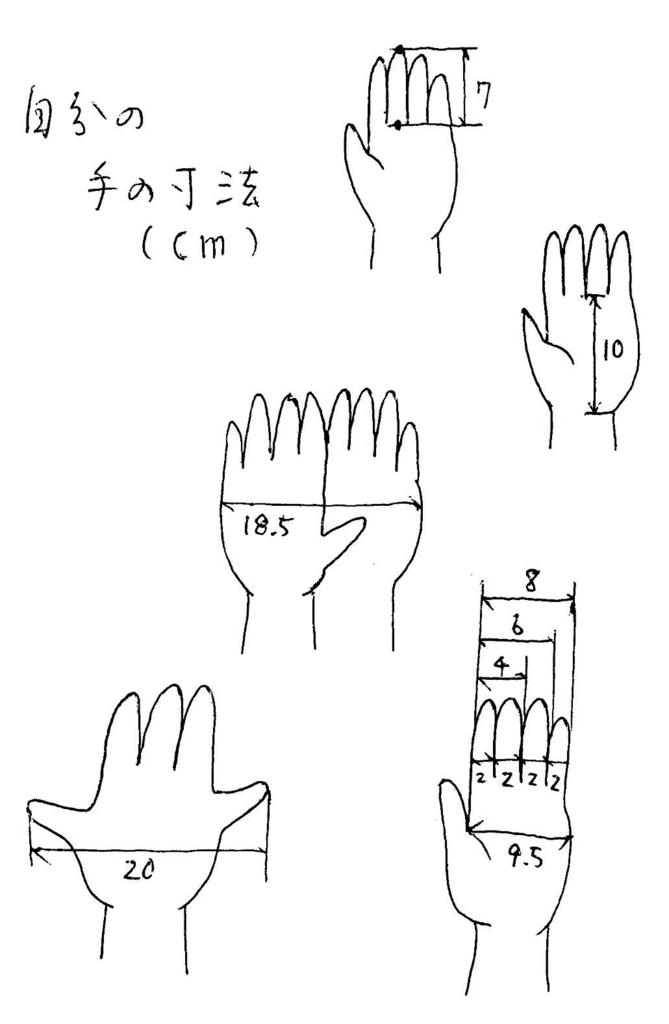 自分の手の寸法を記した絵