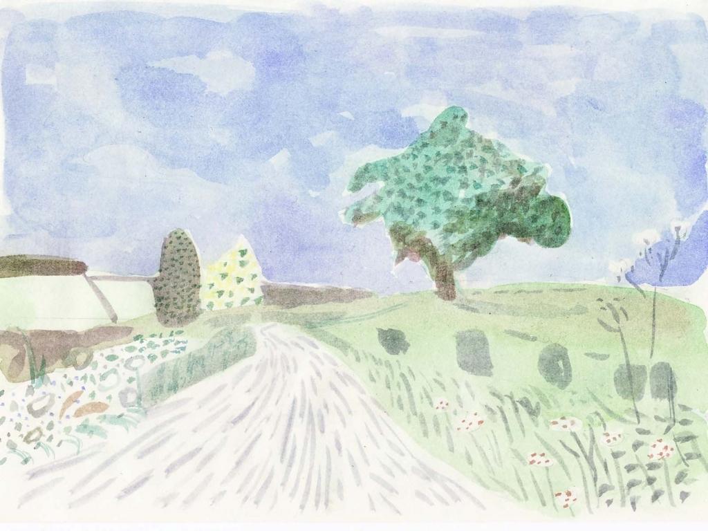デイヴィッド・ホックニーの風景を模写した絵