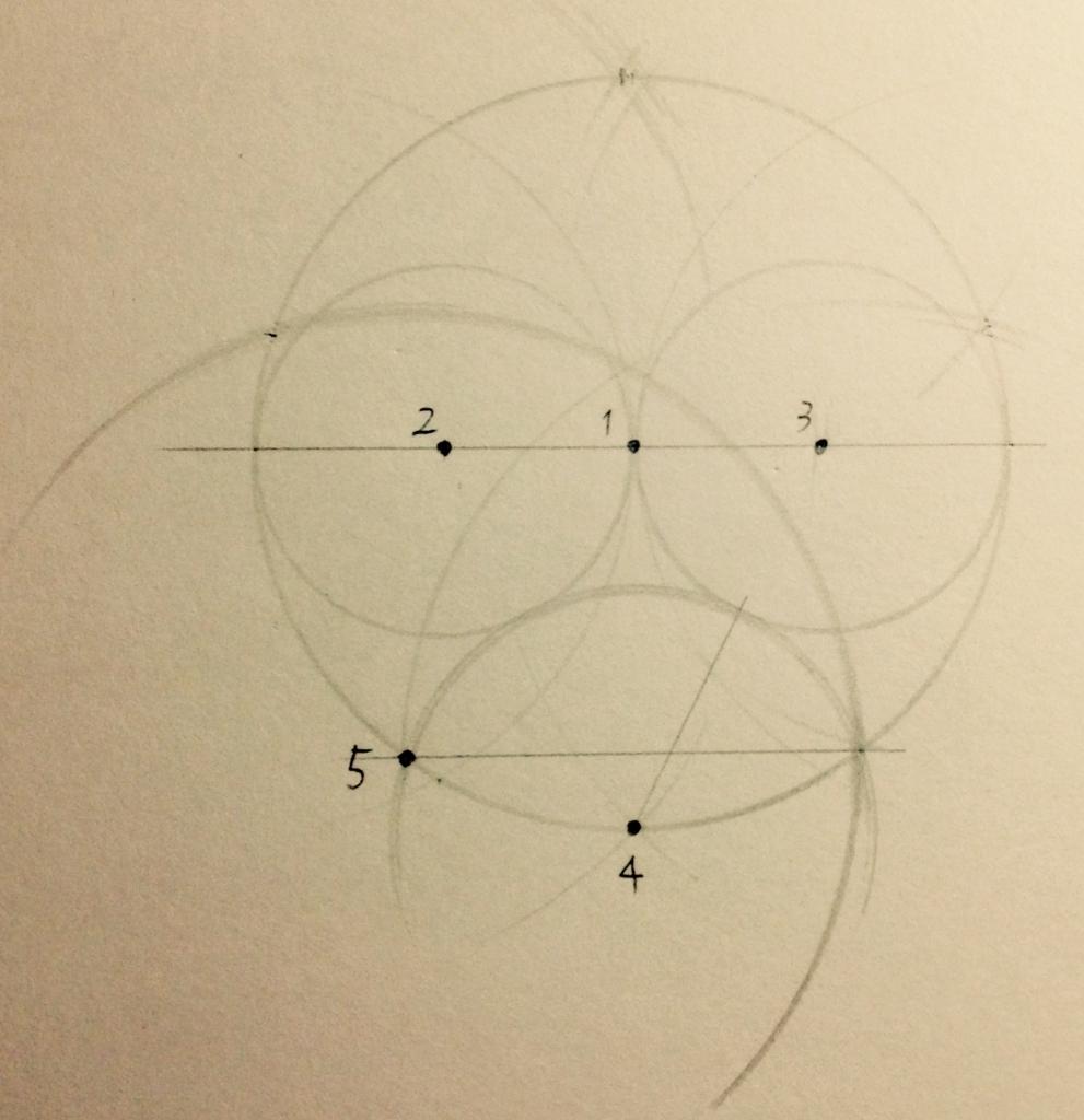 正五角形の作図写真