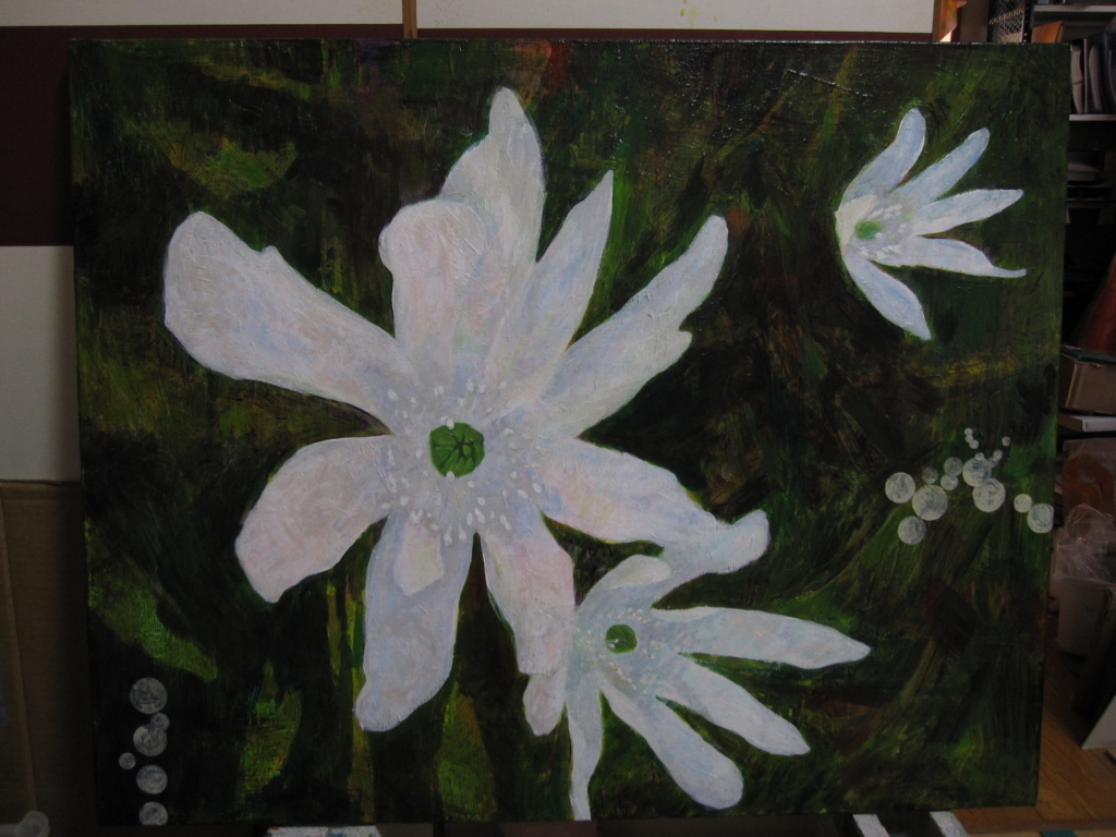 白い小さな花の絵