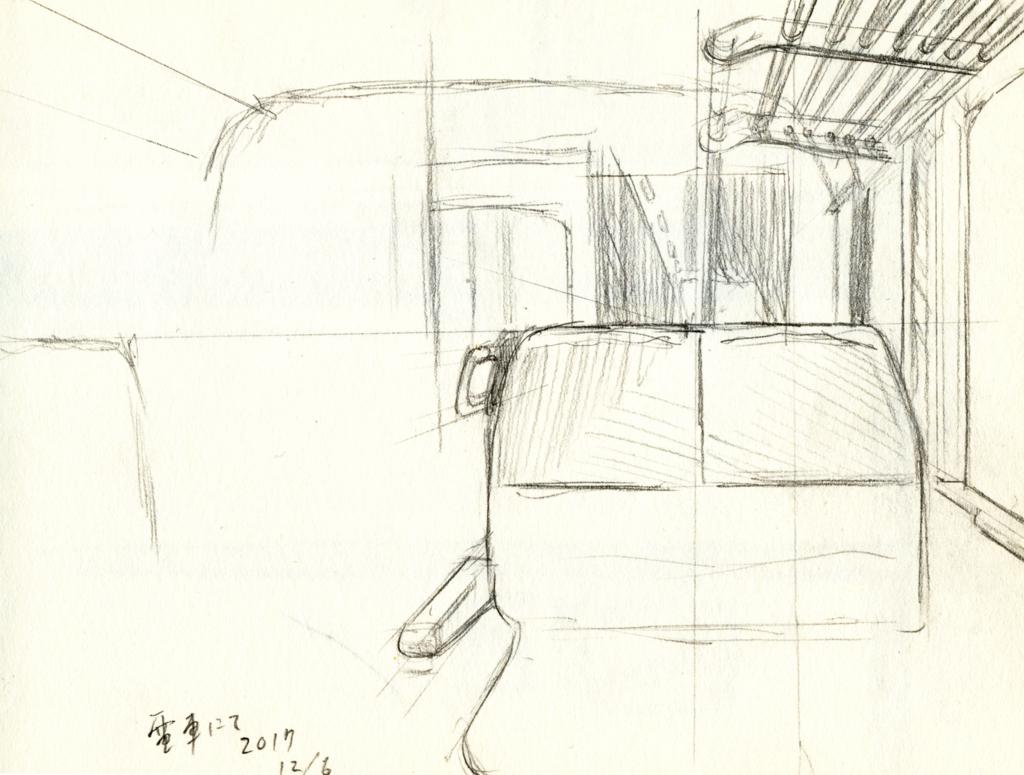 電車の車内風景スケッチ画