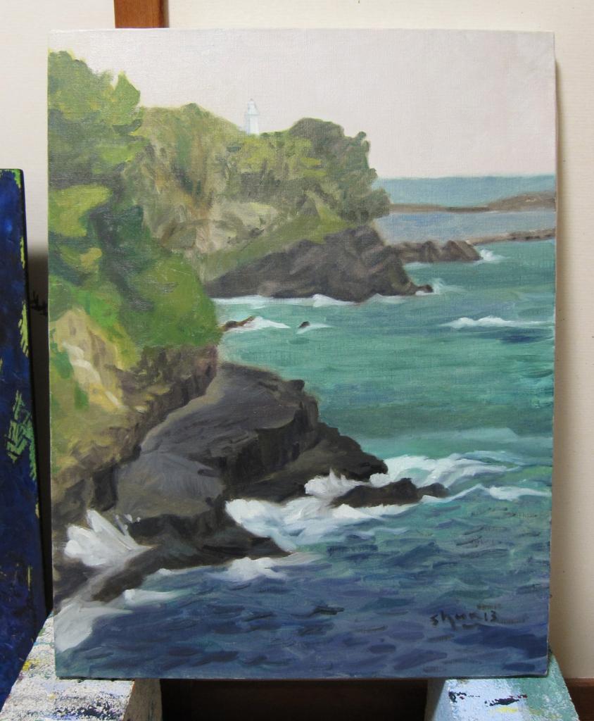 雄勝の灯台のある海の絵
