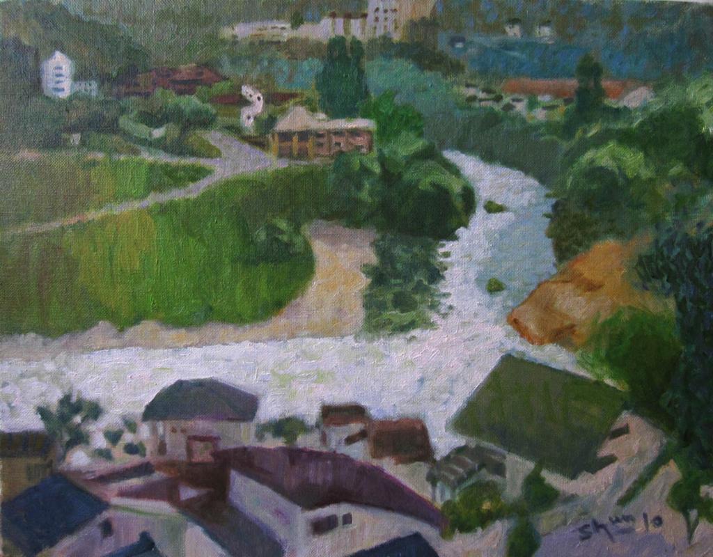 広瀬川の油絵