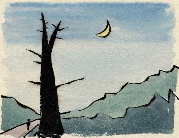 月夜の大きな木のある絵