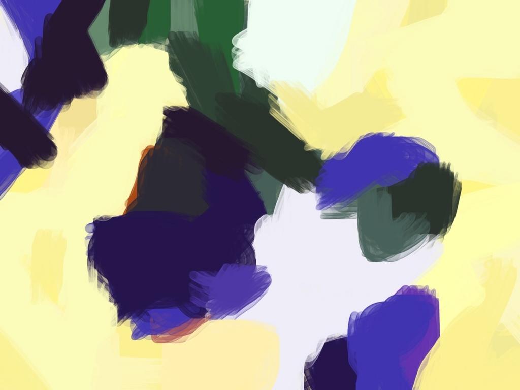 黄と青のデジタルぬり絵の絵