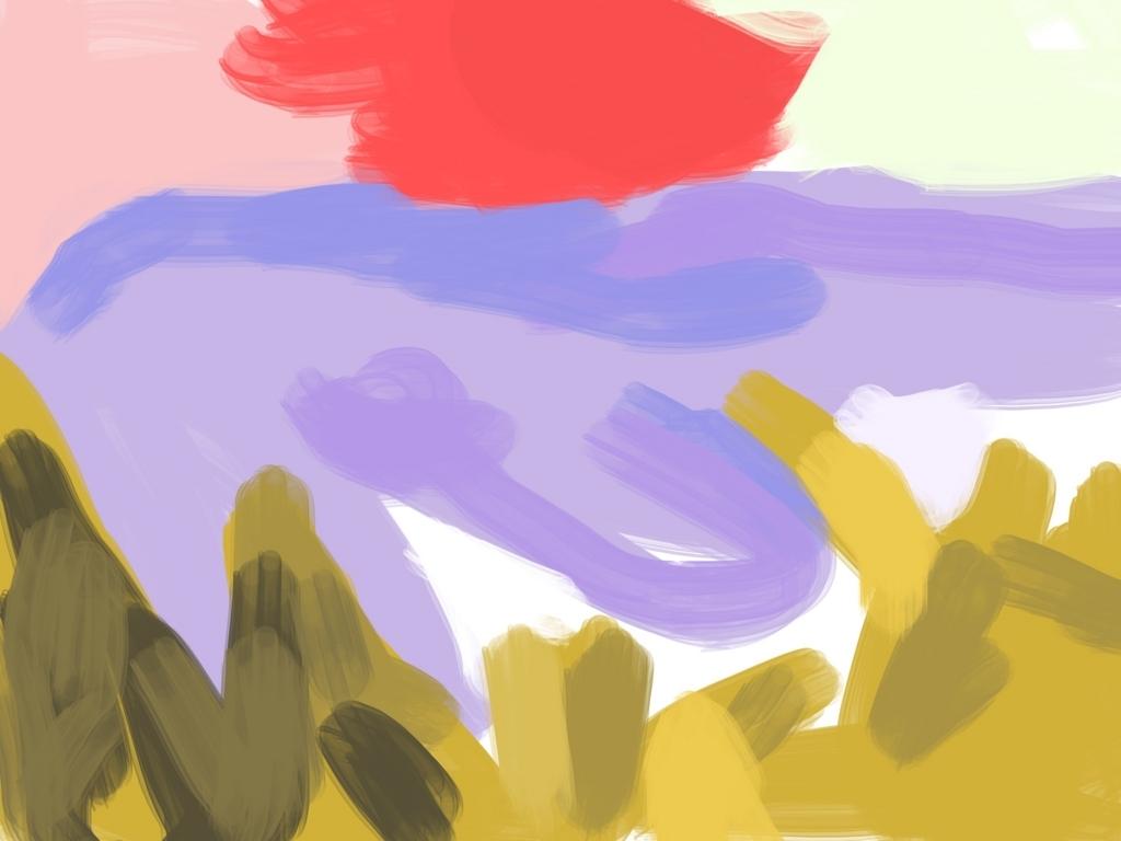 紫と黄のデジタルぬり絵の絵