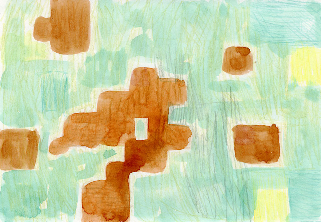 ぬり絵の水彩画の絵