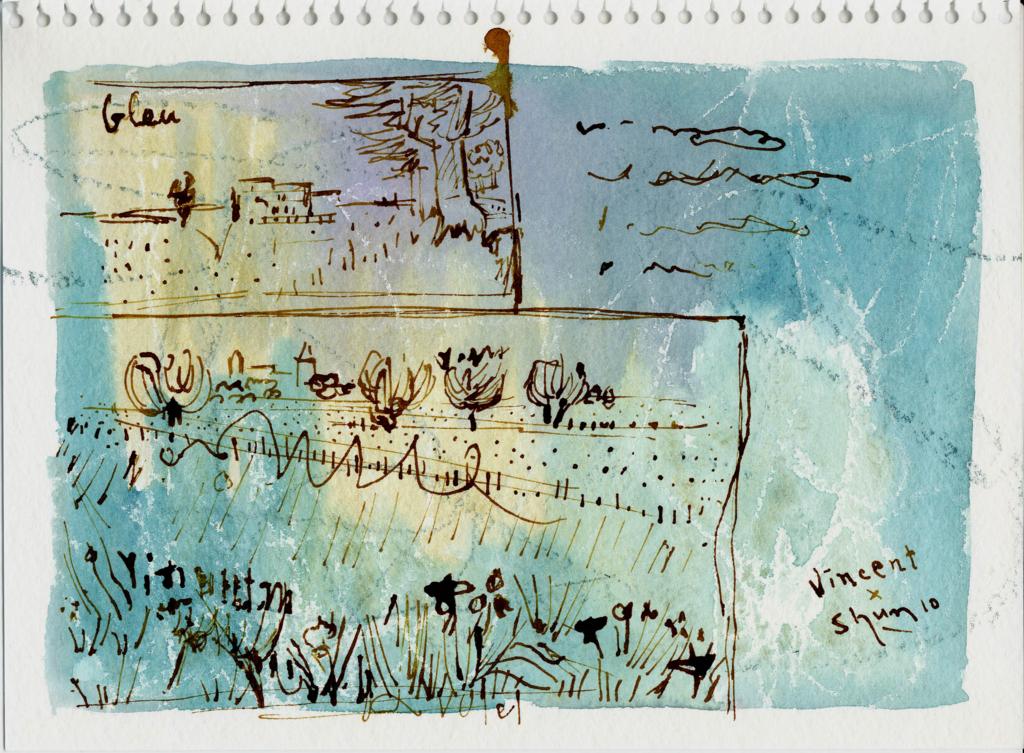 ゴッホの風景画を模写したペン画の絵
