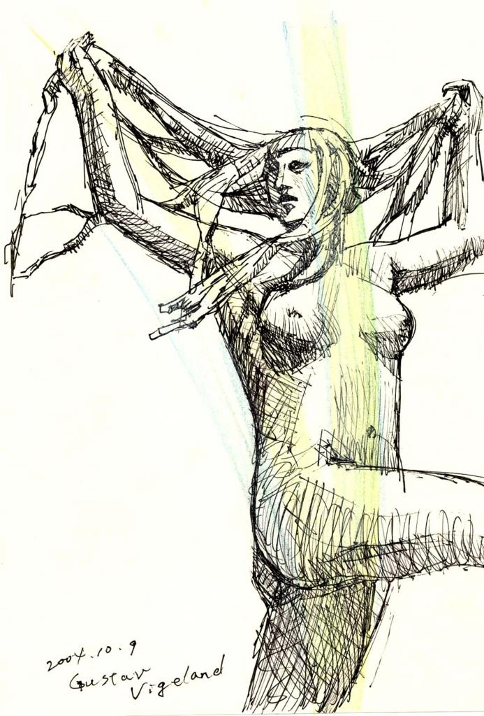 ヴィーゲラン踊る娘の彫刻の絵