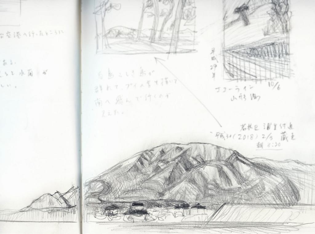 海っぷちから見た蔵王のモノクロスケッチの絵