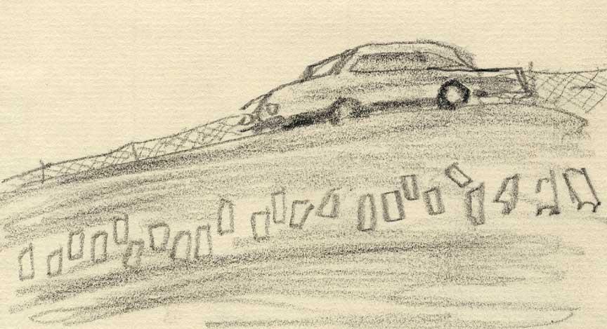 坂を下る車のスケッチ画