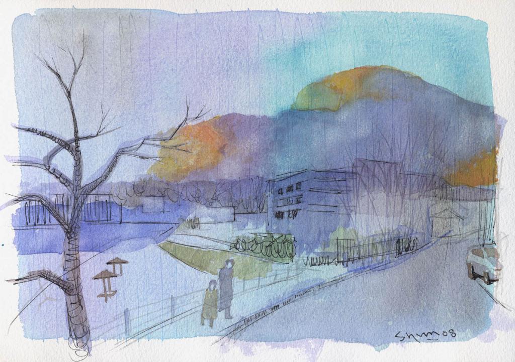 青い雲のある風景画