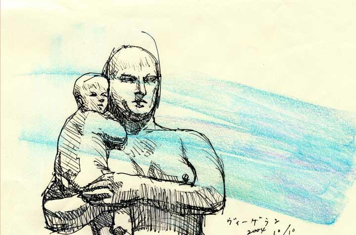 ヴィーゲランの彫刻の模写スケッチ