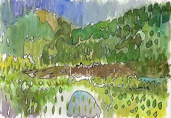 緑の風景の抽象画