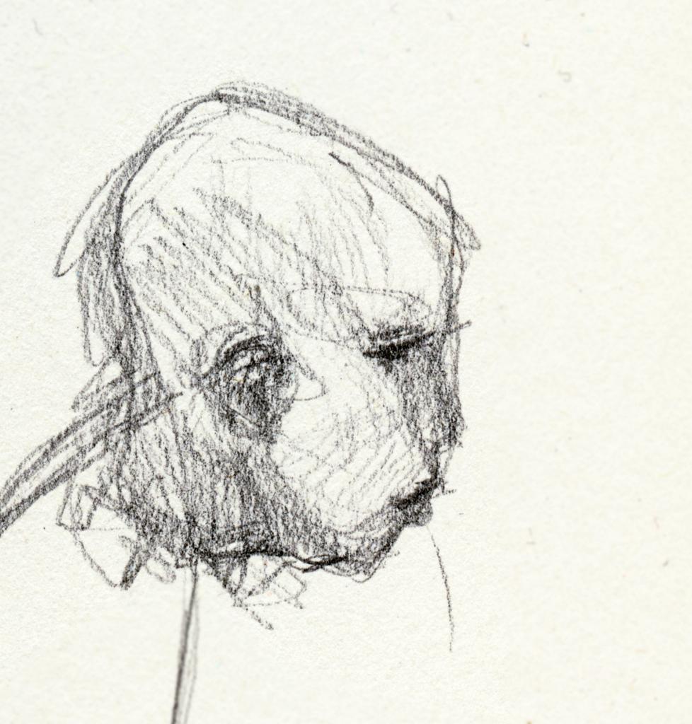 オカチメンコの頭の素描画
