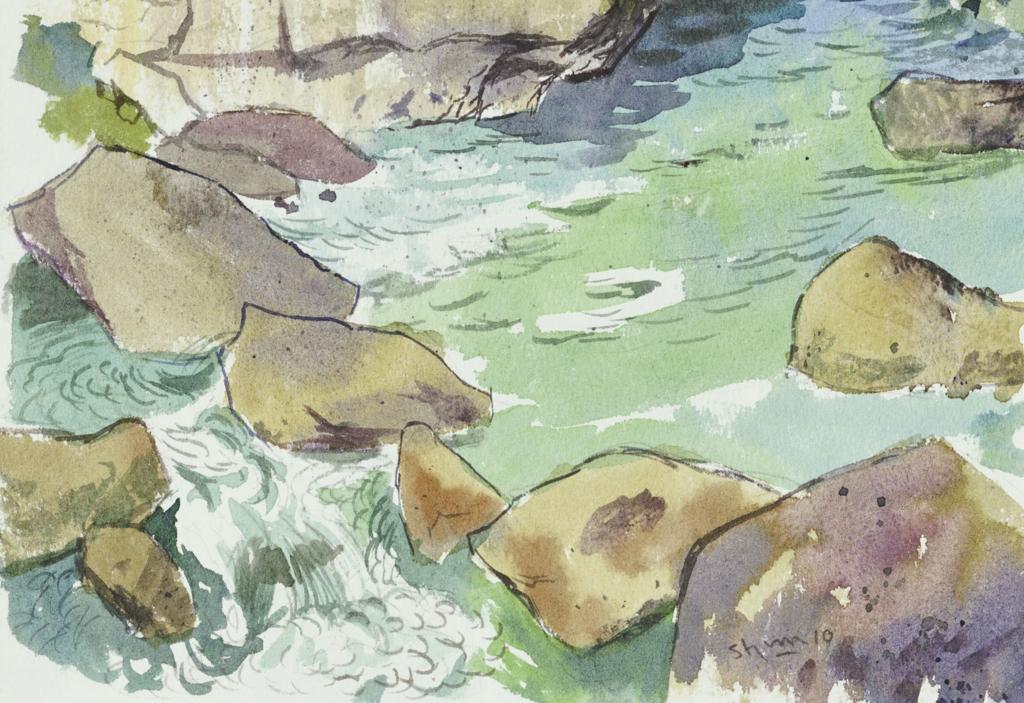 磊々峡の流れを描いた水彩画