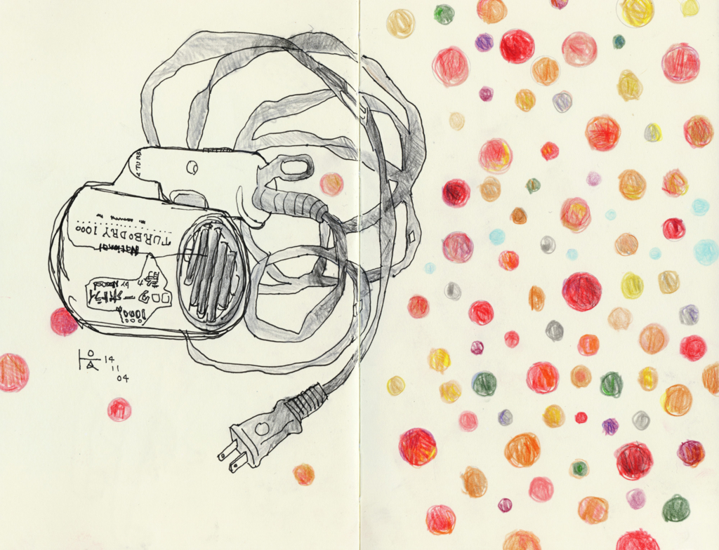 ドライヤーの色鉛筆画