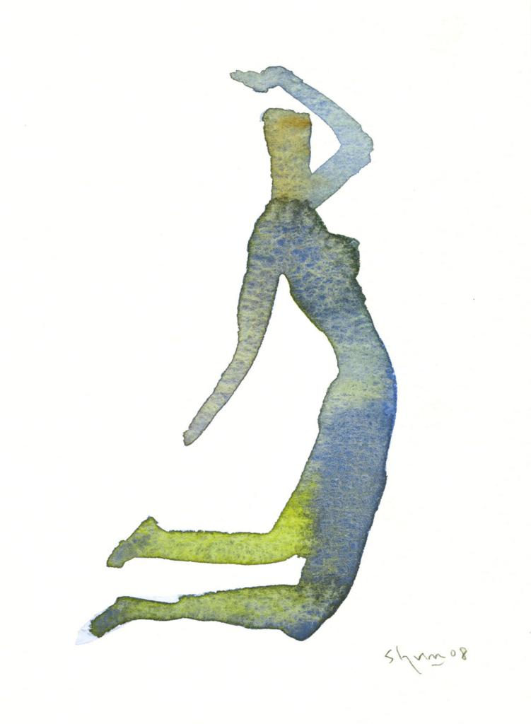 横向きのシルエットの女の水彩画