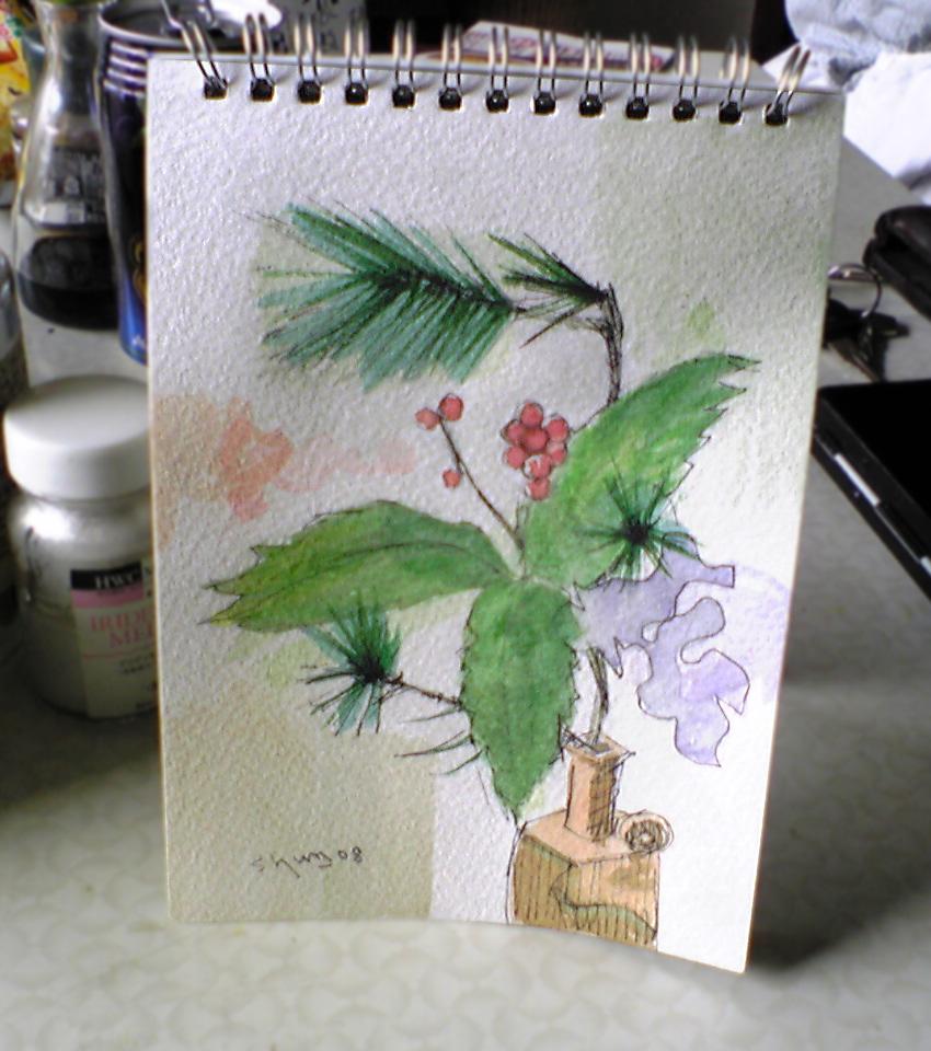 松とセンリョウのスケッチ画